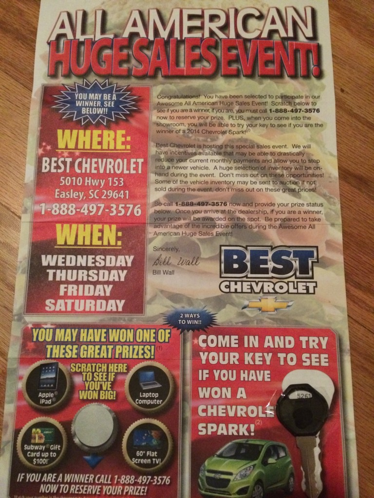 """""""Come turn the key to see if you win a car"""" ;-)"""