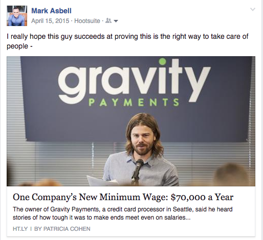 Gravity CEO Announces Minimum Pay $70K for Employees